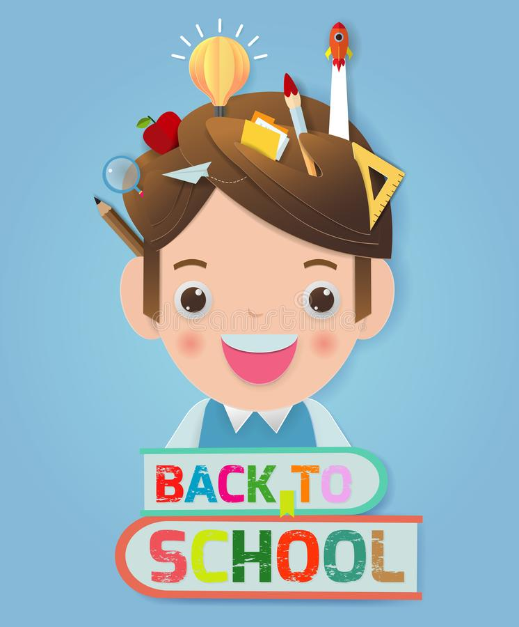 Back to school banner background. back to school, kids school, education concept, Kids go to school, Paper cut and craft style. royalty free illustration