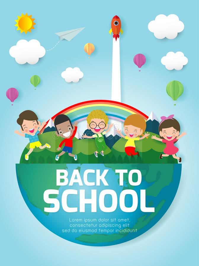 Back to school banner background. Group of Kids jumping on the Globe, Paper cut and craft style. Paper art style, you text stock illustration