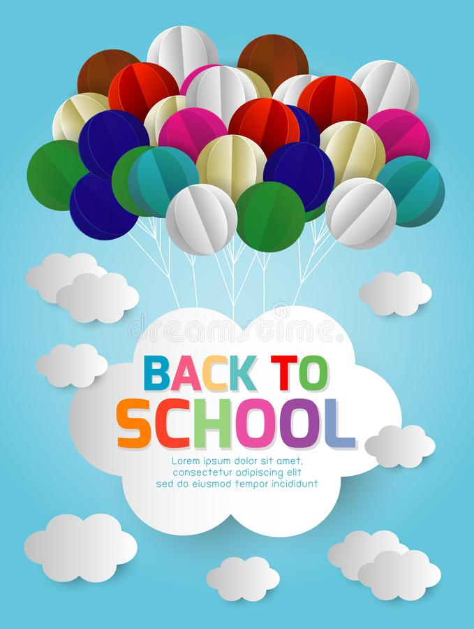 Back to school banner background. Origami made of Balloons and cloud in the air, paper art design and craft style stock illustration