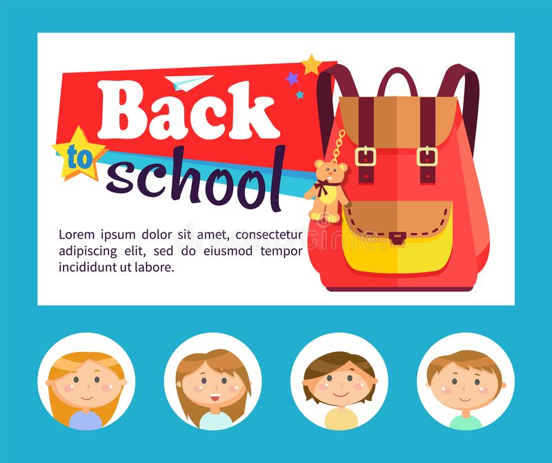 Back to School Banner, Backpack and Pupils Avatars royalty free illustration