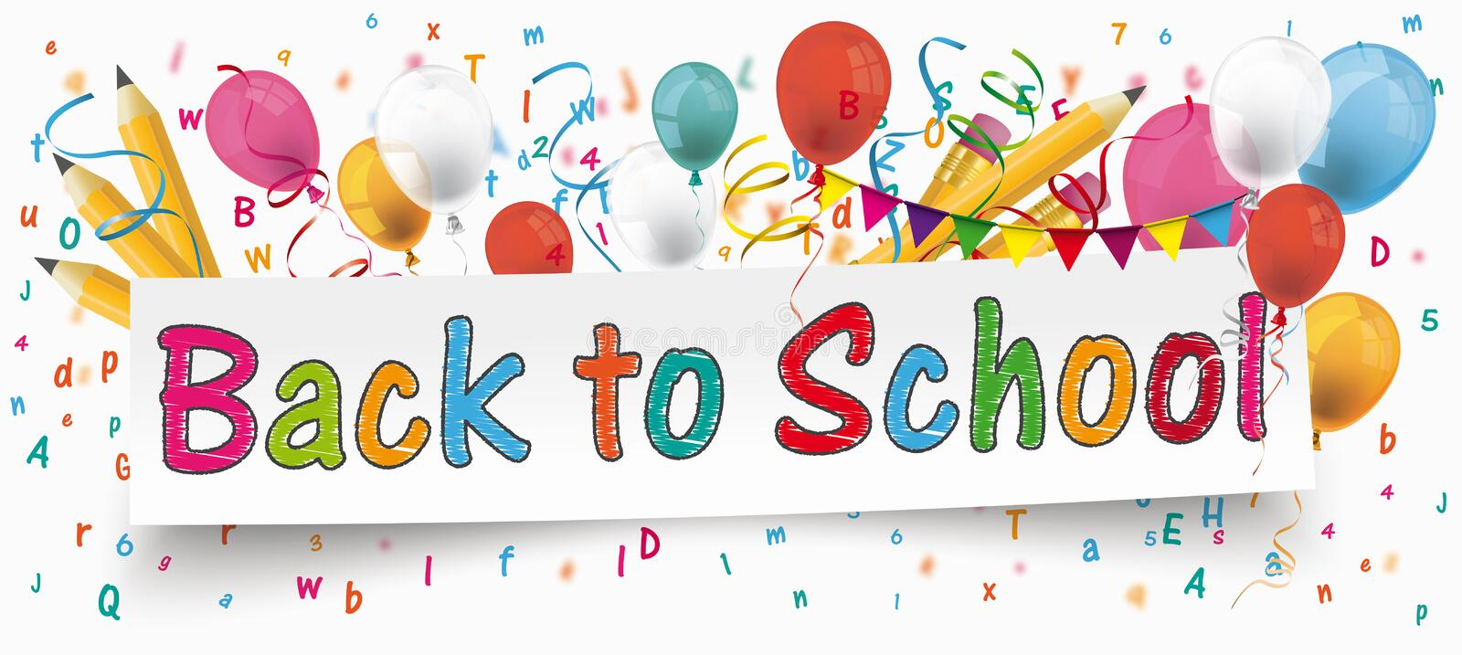 Back to School Banner Balloons Buntings Letters Pencils. White paper banner with pencils, bunting, balloons, letters and text Back to School vector illustration