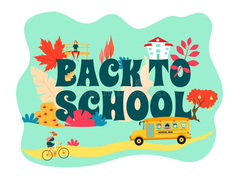 Back to school banner on a blue background. School bus rides on the road, the girl rides a bicycle. The girl on the bench. Colorfu vector illustration