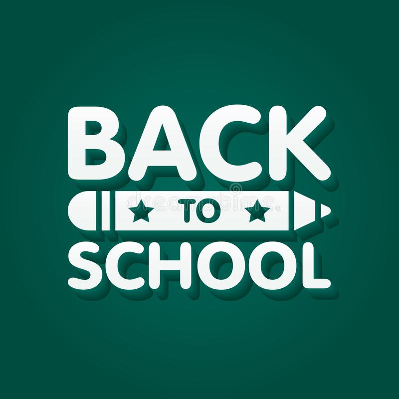 Back to school banner design with 3d title and pencil in green chalkboard background. Vector illustration royalty free illustration