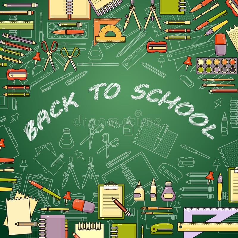 Back to school banner with education elements. Vector illustration. vector illustration