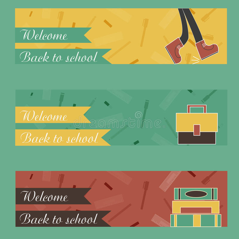 Back to School banner in flat style design. With icons and lettering for report header, presentation, printing, flyer and landing page. Vector stock illustration
