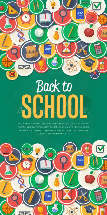 Back to school banner with flat vector icons vector illustration