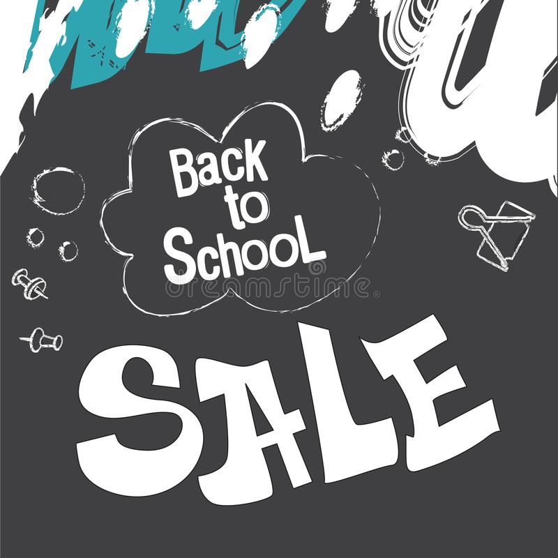 Back to school. Banner in the form of a blackboard, chalk drawings on a black background. School and office supplies stock illustration