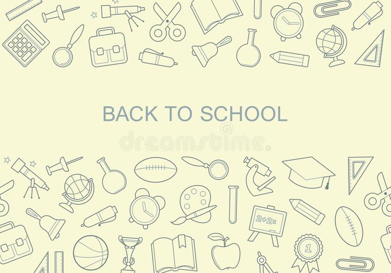Back to school banner with icons school symbols. The layout of the banner back to school with icons school symbols royalty free illustration