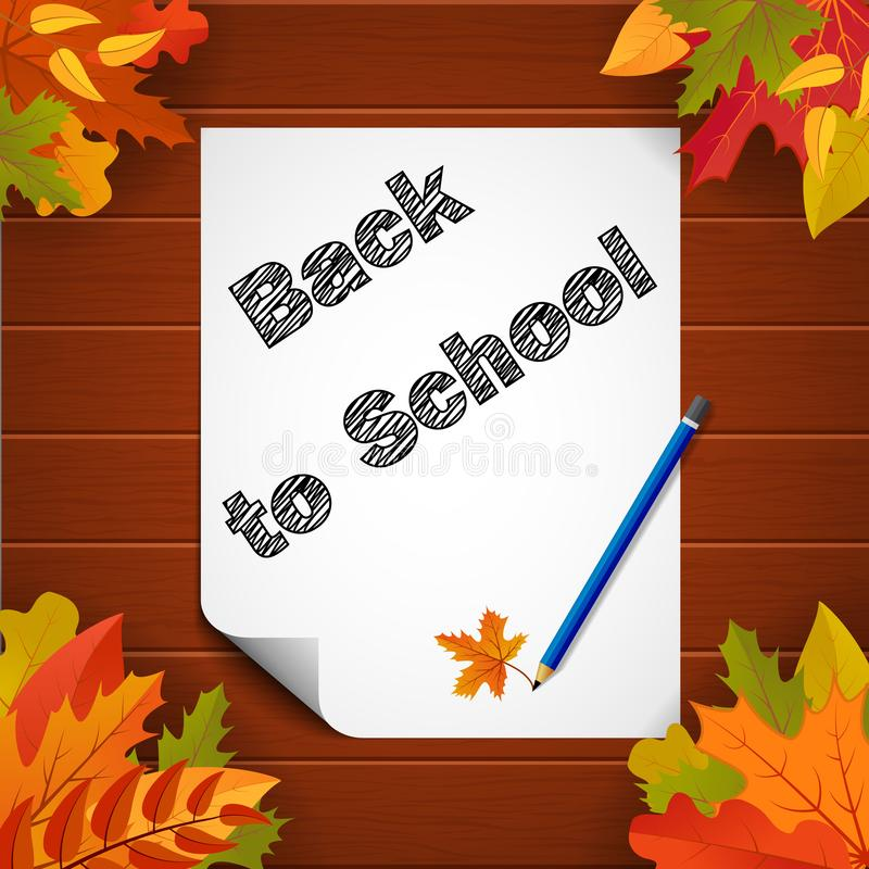 Back to school banner with paper, leaves and pensil on wood background.School education poster.vector eps10 stock illustration
