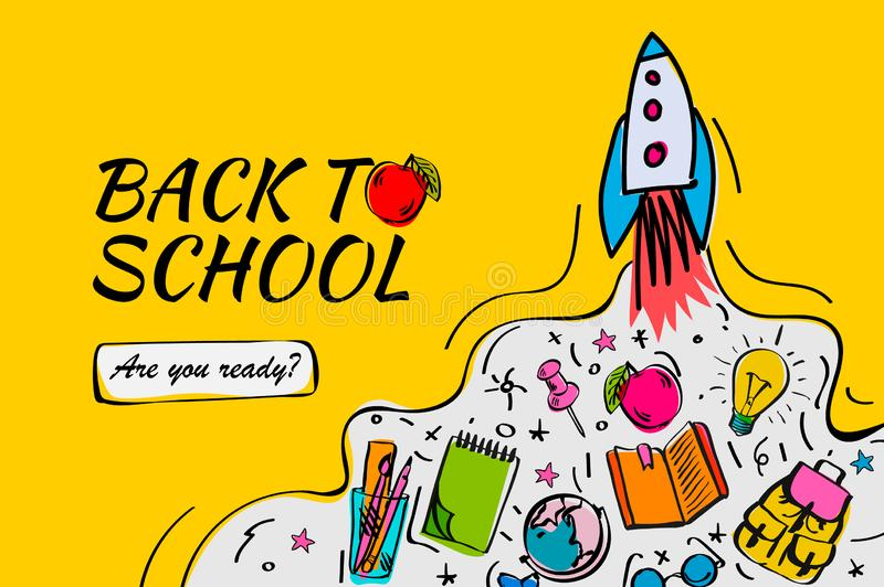 Back to school banner, poster with doodles, vector illustration. royalty free illustration
