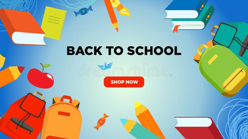Back to school banner or screen with backpacks, leaves, pencils, books, notebooks, apple, brush. Promotional for stationery and ba stock illustration