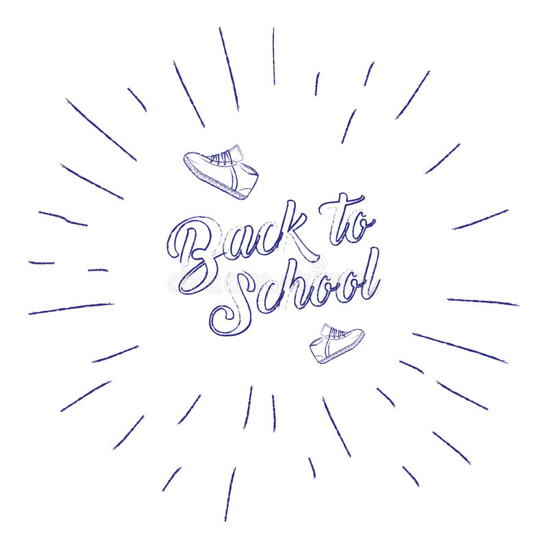 Back to school banner with sneakers and sunburst. Handwritten lettering, calligraphic phrase on white background. Vector vector illustration