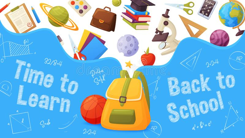 Back to school banner. Template for sale page design. Cartoon and colorful style. Backpack with flying elements: planets, microscope, globe, star, ruler, paint vector illustration