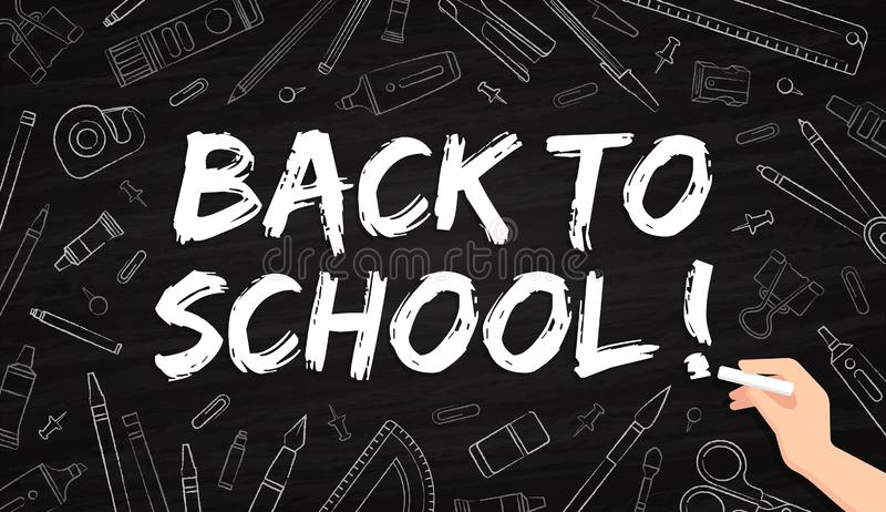 Back to school - office supplies drawn with chalk on a blackboard vector illustration