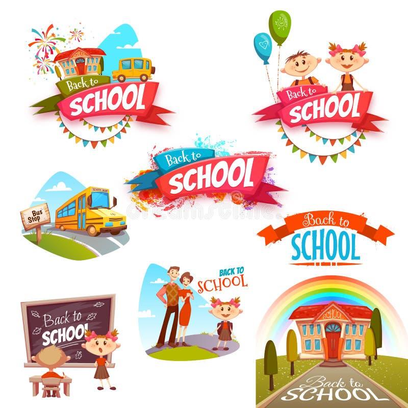 Back to school banners set. Vector illustration stock illustration