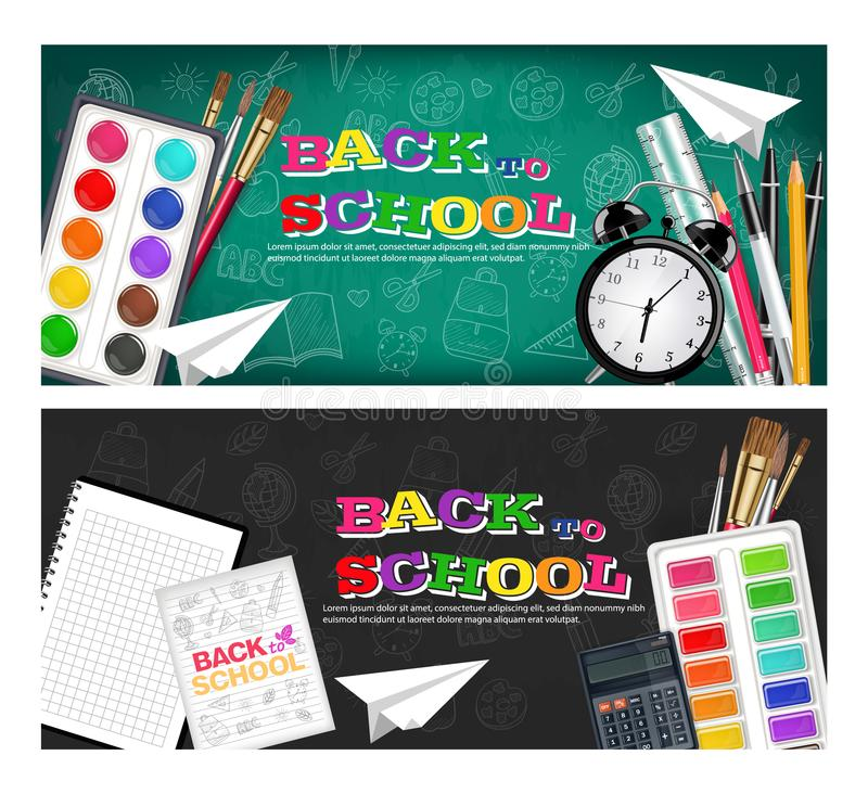 Back to school banners set Vector realistic. Alarm clock, brushes, pencil, watercolor palettes vector illustration