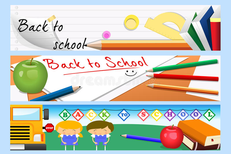 Back to school banners stock illustration