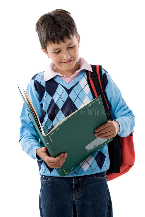 Back to school. Beautiful student boy. Beautiful student boy on a over white background stock photography