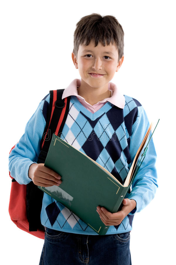 Back to school. Beautiful student boy. Beautiful student boy on a over white background royalty free stock images