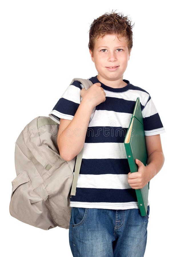 Back to school. Beautiful student boy. Beautiful student boy isolated on a over white background royalty free stock images