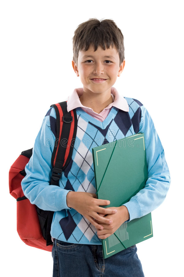 Back to school. Beautiful student boy. Beautiful student boy on a over white background royalty free stock photos
