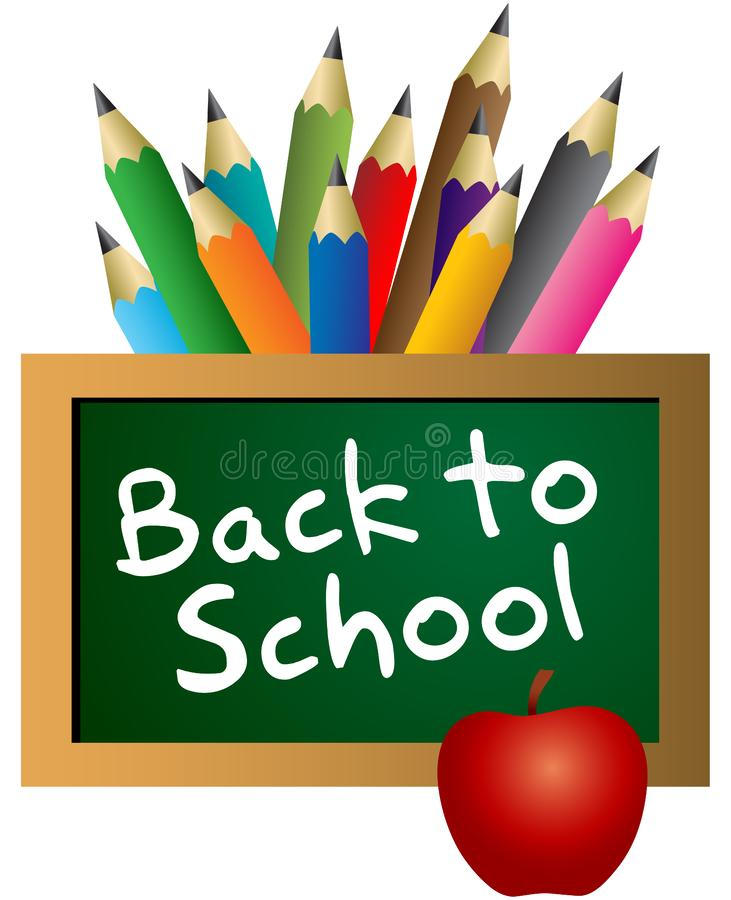 Back to school on blackboard with color pencils. Back to school letters on blackboard - vector illustration with colorful pencils royalty free illustration