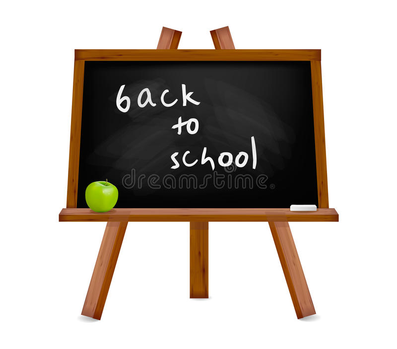 Back to school. Blackboard with easel with text. vector illustration