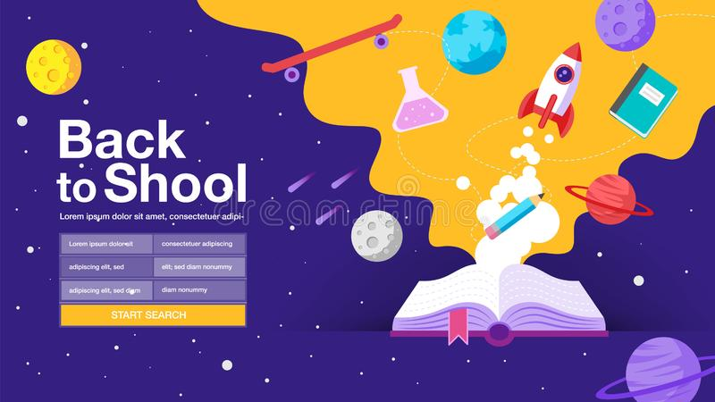 Back to school , book, sale banner, poster, flat design colorful, vector. Back to school , book, web banner, poster, flat design colorful, vector illustration royalty free illustration