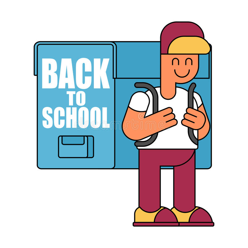 Back to school. Boy and big schoolbag. Illustration for Septem stock illustration
