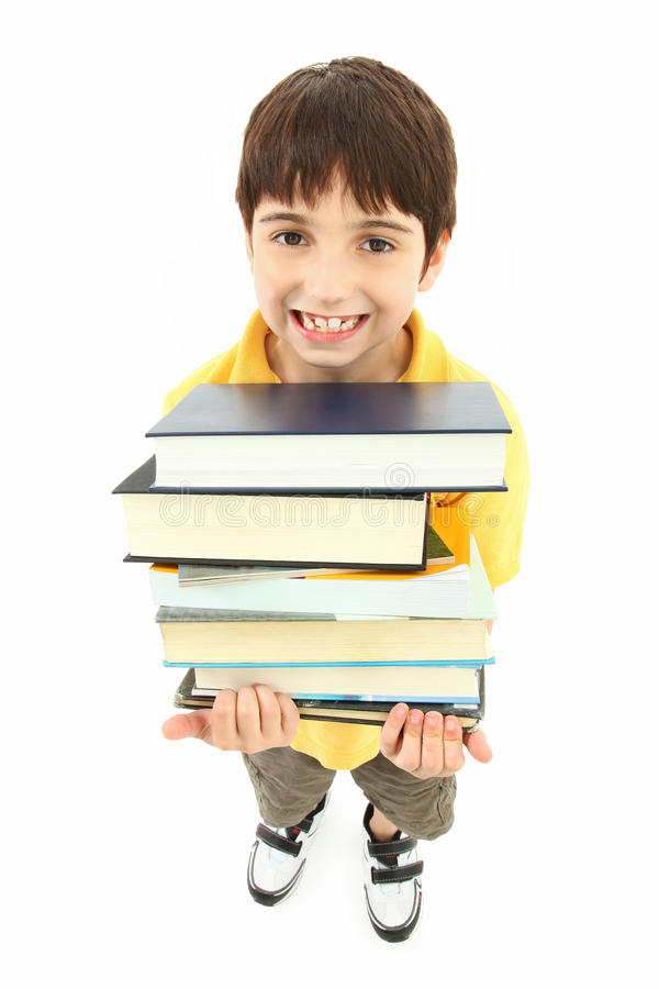 Back to School Boy Child with Text Books stock photos