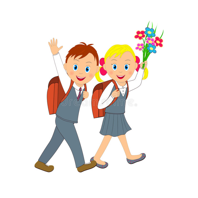 Back to school.boy and girl going to school. stock illustration