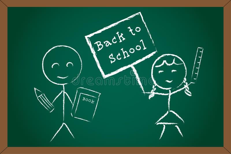Back to School Boy Girl on Green Chalk Board royalty free illustration