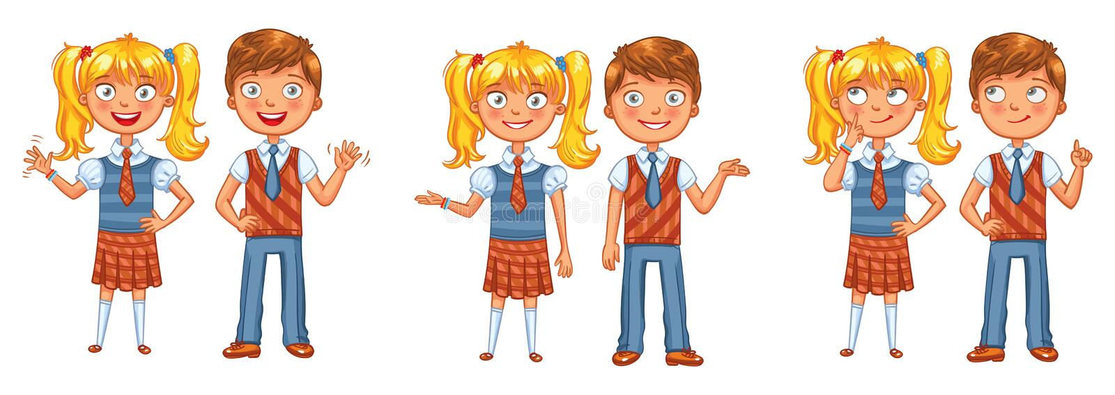 Back to school. Boys and girls posing together. Funny cartoon character. Vector illustration. Isolated on white background stock illustration