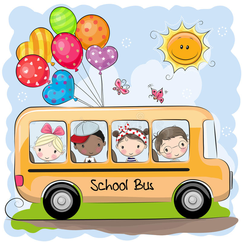 Back to school. School bus and four cute cartoon kids