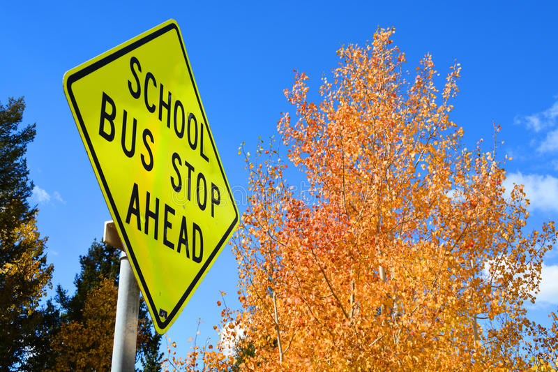 Back to School Bus Stop Sign royalty free stock photos