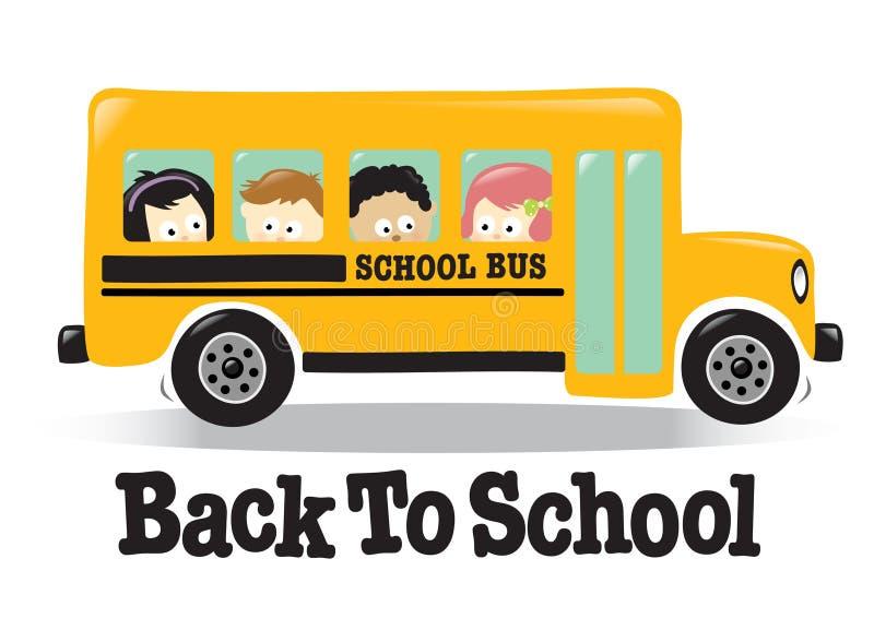 Back To School bus w/ kids royalty free illustration