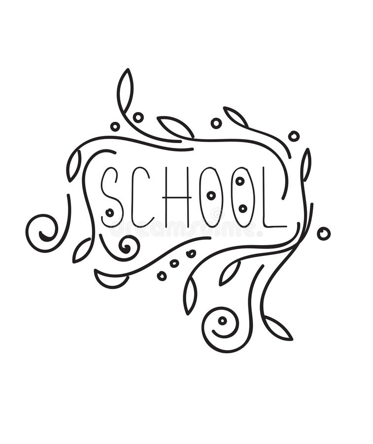 Back to School Calligraphic Designs. Vintage Ornaments royalty free illustration