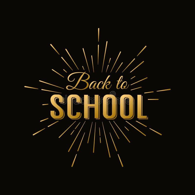 Back to School Calligraphic Label On Chalkboard stock illustration