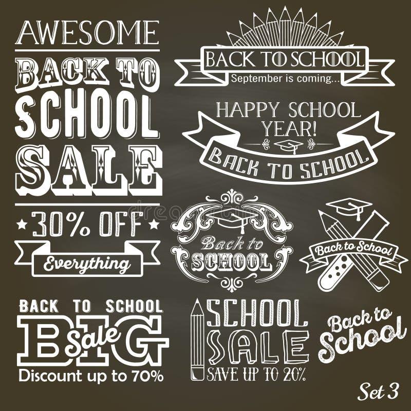 Back to School calligraphic label set on chalkboard. School sale sign retro style vector illustration