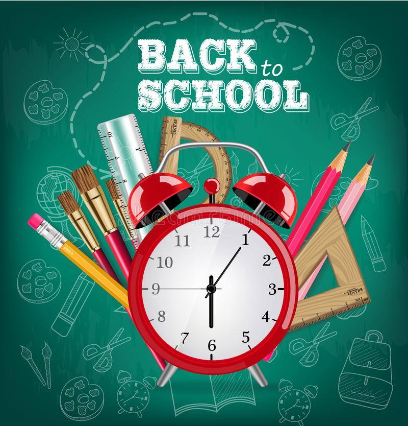 Back to school card Alarm clock and school tools Vector realistic. Brush, pencils, crayons. Chalk board background royalty free illustration