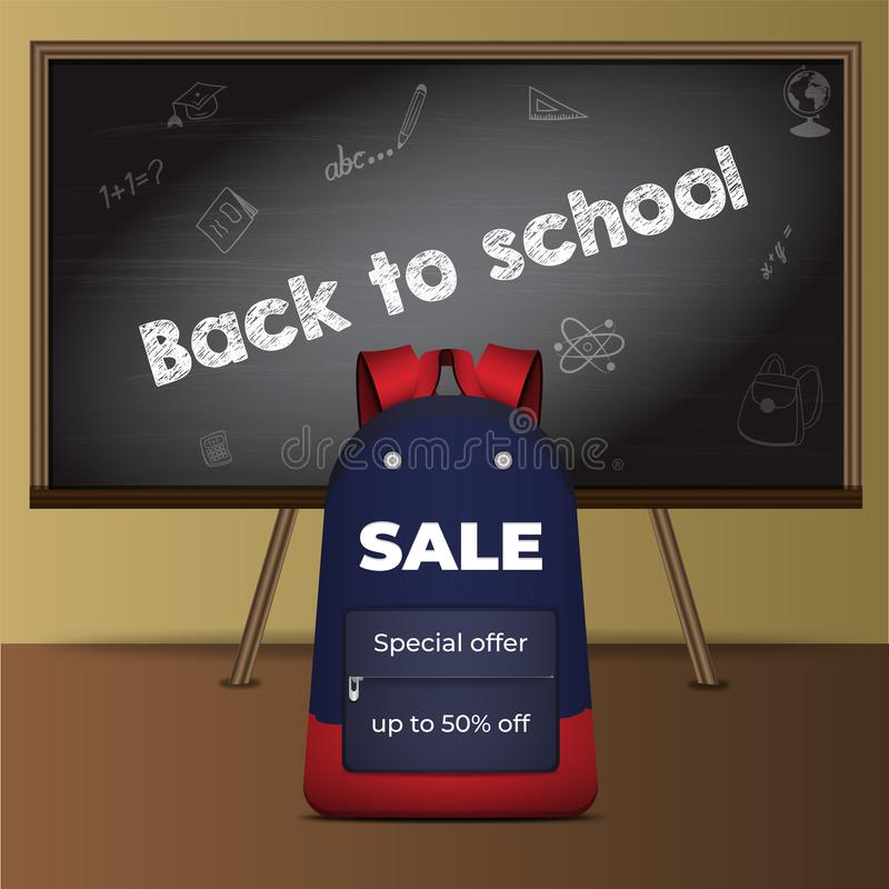Back to school card with school Board and school backpack. Template for Shopping sale, promo poster, banner, wallpaper, flyer, discount, shop, market, special stock illustration