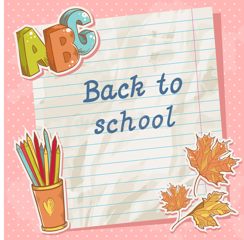 Download Back To School Card On Paper Sheet With Study Item Stock Illustration - Illustration: 32431166