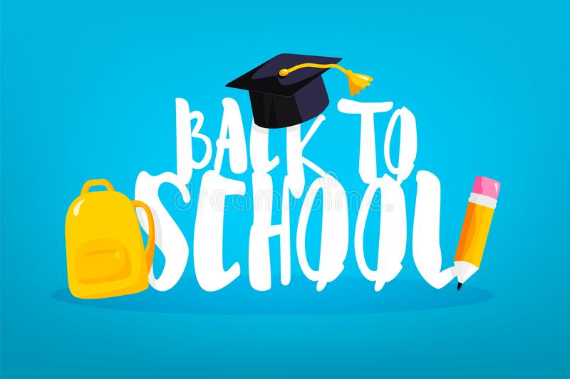 Back to school card with square academic cap, backpack and pencil. Vector banner.  royalty free illustration