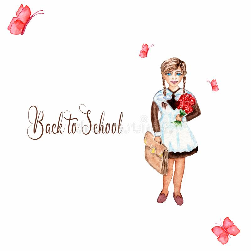 Back to school card template. Watercolor illustration of  school girl and butterflies isolated on white royalty free illustration