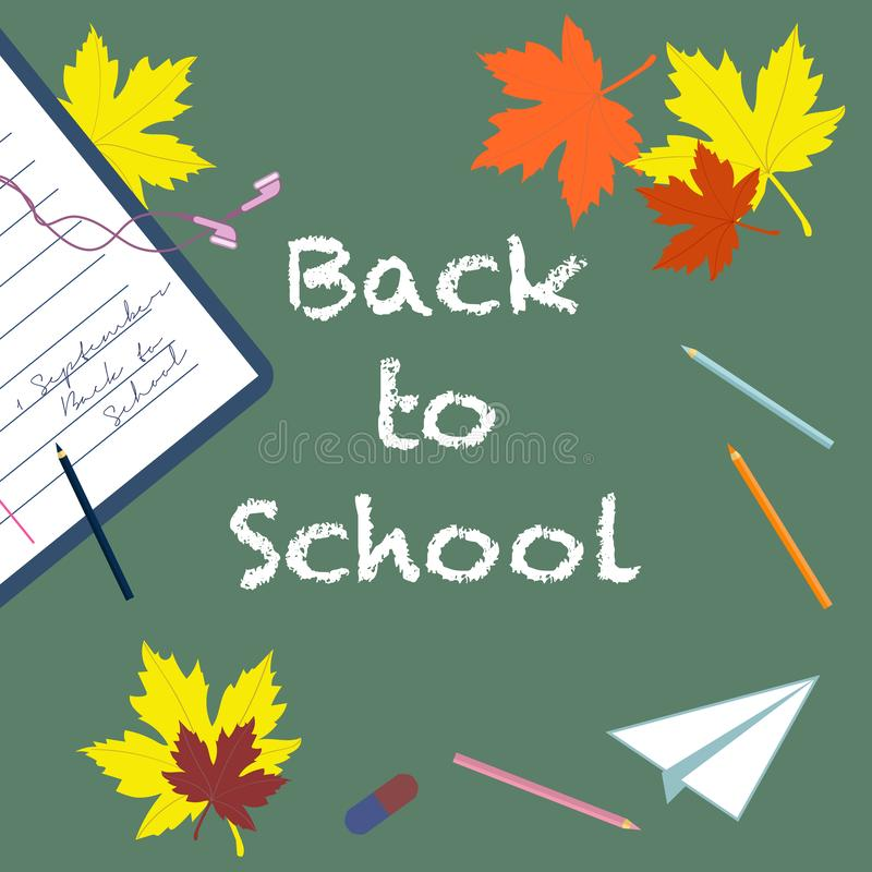 Back to school - chalk inscription and pencils, eraser, notebook, autumn leaves, paper airplane  top view. royalty free illustration