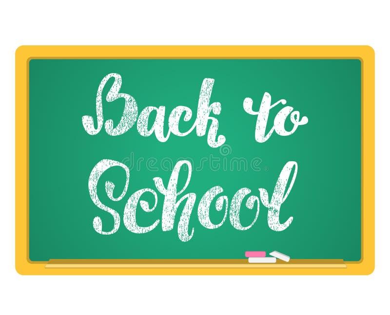 Back to School Chalkboard Background. Hand lettering inscription in chalk on a blackboard. royalty free illustration