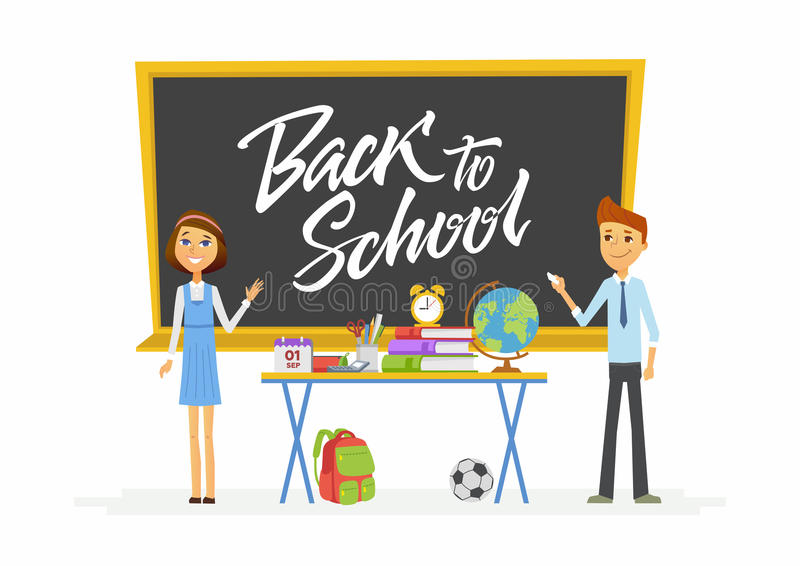 Back to school - characters of happy students at classroom blackboard royalty free illustration