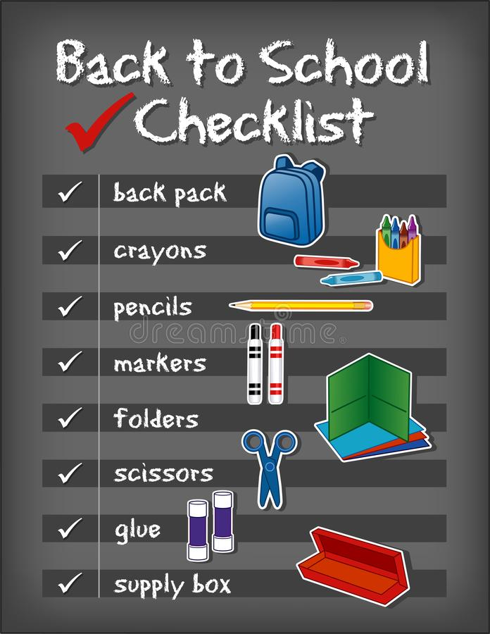 Back to School Checklist, Supplies, Chalkboard Background royalty free illustration