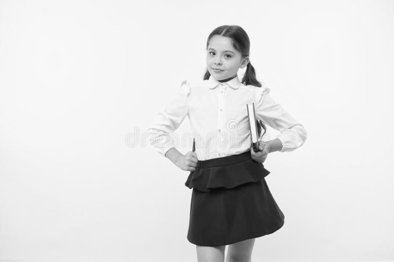 Back to school. Childhood happiness. Smart school girl. childrens day. Education online. small girl child. private. Teaching. happy little girl in school royalty free stock photography