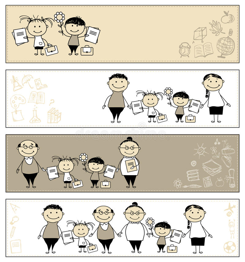 Back to school, children with parents, banners stock illustration